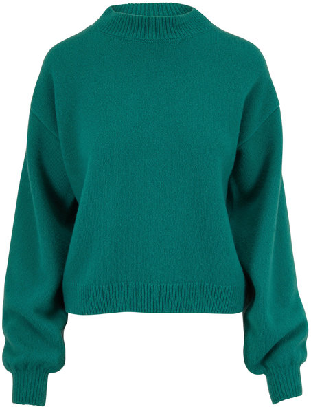 Sally LaPointe Green Cashmere & Silk Mockneck Sweater