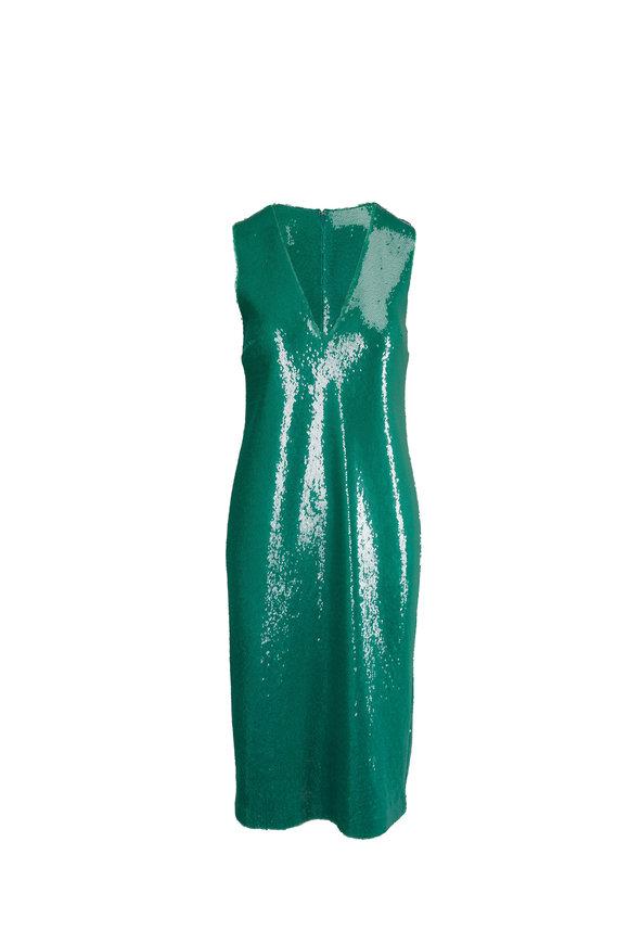 Sally LaPointe Green Sequin Sleeveless V-Neck Dress