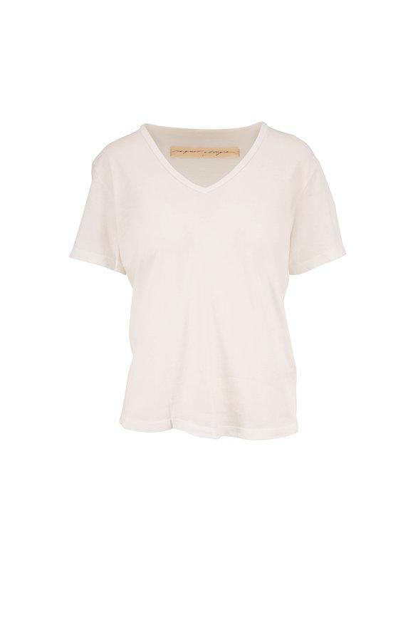 Raquel Allegra New White V-Neck T-Shirt