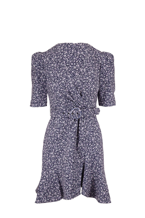 Jonathan Simkhai Evelyn Midnight & White Floral Short Sleeve Dress