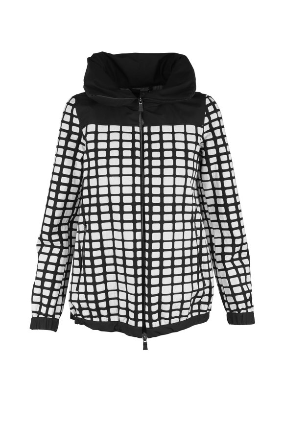Herno Black & White Grid Pattern Weather Proof Jacket