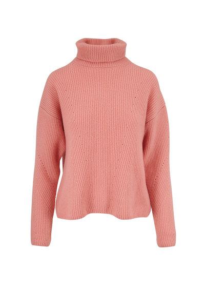 Sally LaPointe - Pink Cashmere & Silk Turtleneck Sweater