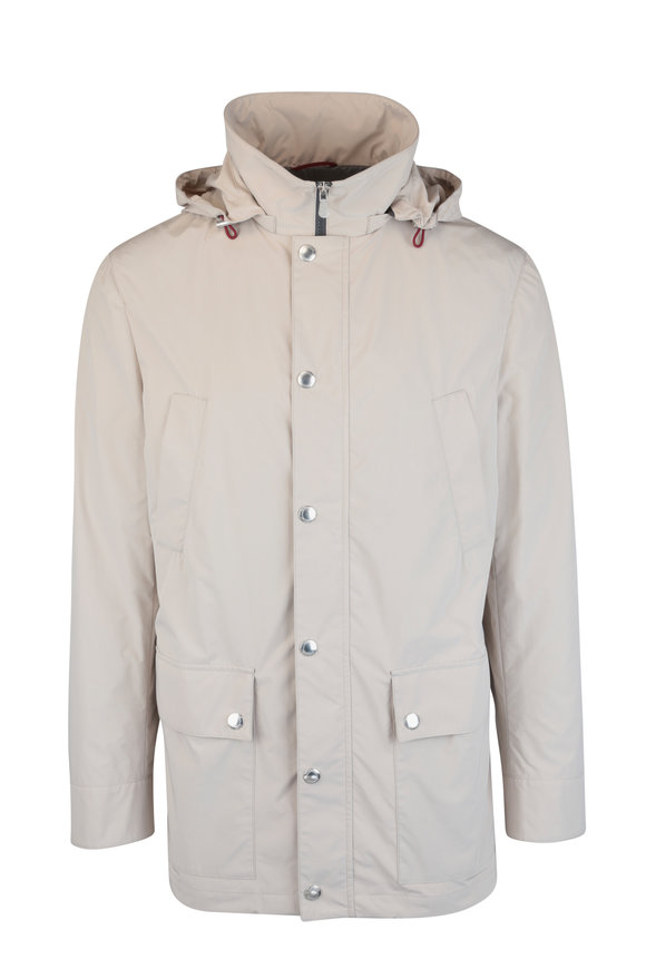 Brunello Cucinelli Tan Water-Resistant Hooded Jacket