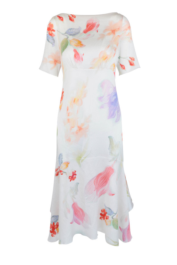 Peter Pilotto Ivory Floral Silk Short Sleeve Dress