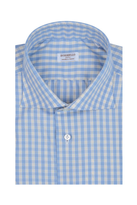 Borriello Light Blue & Yellow Check Dress Shirt