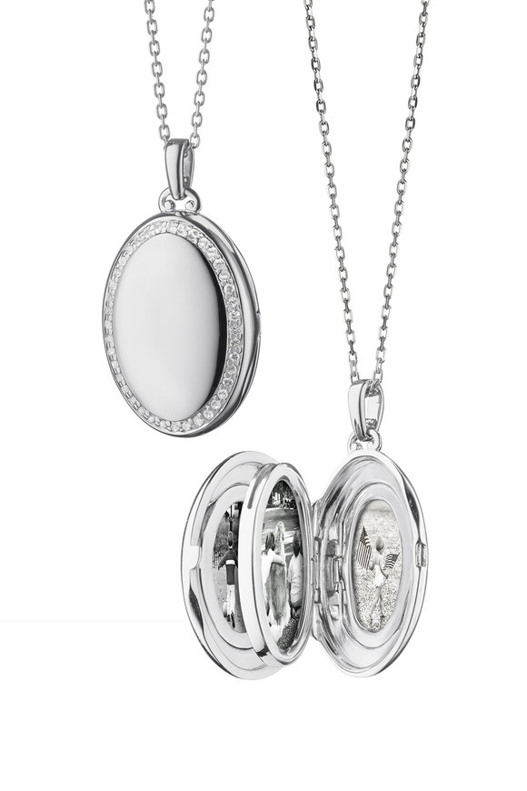 Monica Rich Kosann Sterling Silver Four Image Locket Necklace