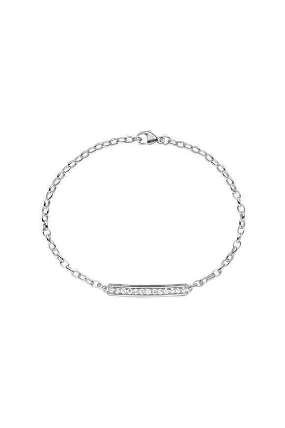 Monica Rich Kosann Silver White Sapphire Carpe Diem Posey ID Bracelet