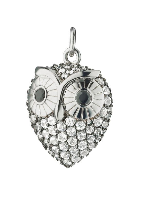 Monica Rich Kosann Sterling Silver White & Black Sapphire Owl Charm