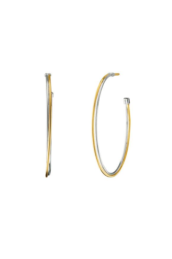 Monica Rich Kosann Sterling Silver & Gold Silver Lining Hoops