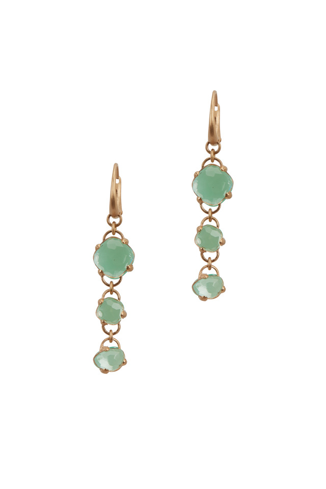 18K Rose Gold Chrysoprase & Rock Crystal Earrings
