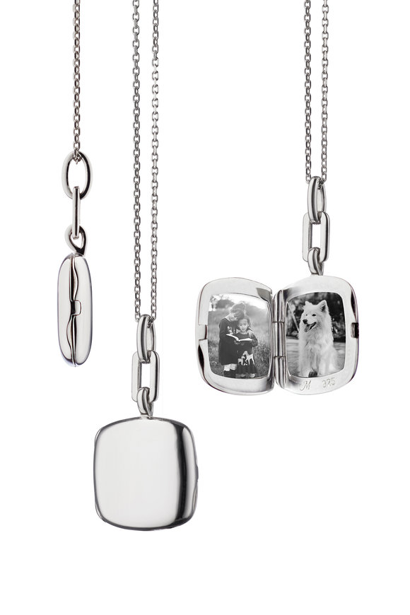 Monica Rich Kosann Sterling Silver Slim Locket Necklace