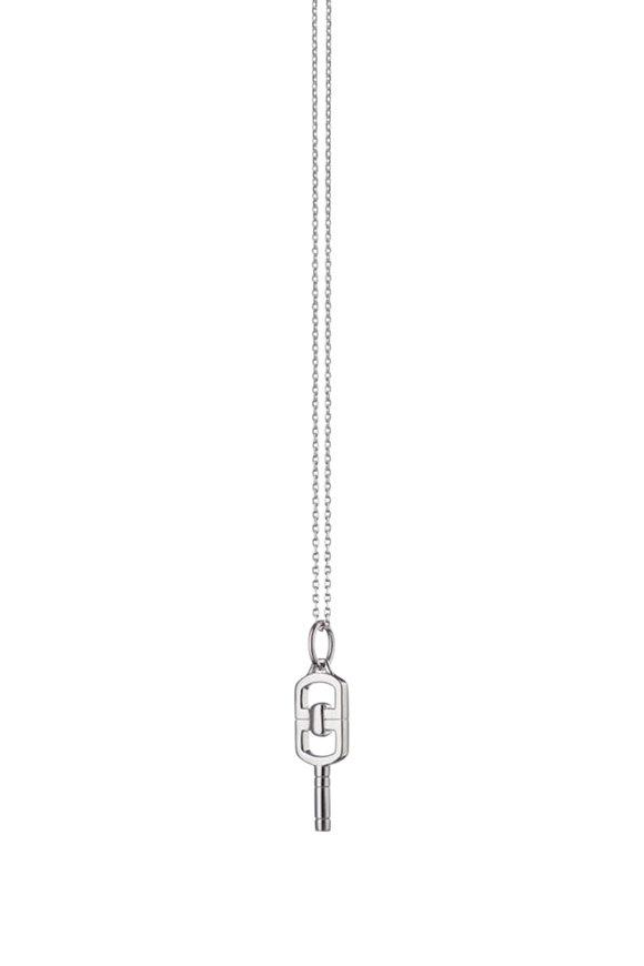 Monica Rich Kosann Sterling Silver Pocket Watch Key Necklace