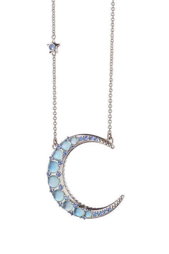 Monica Rich Kosann Sterling Silver Crescent Moon Chain Necklace