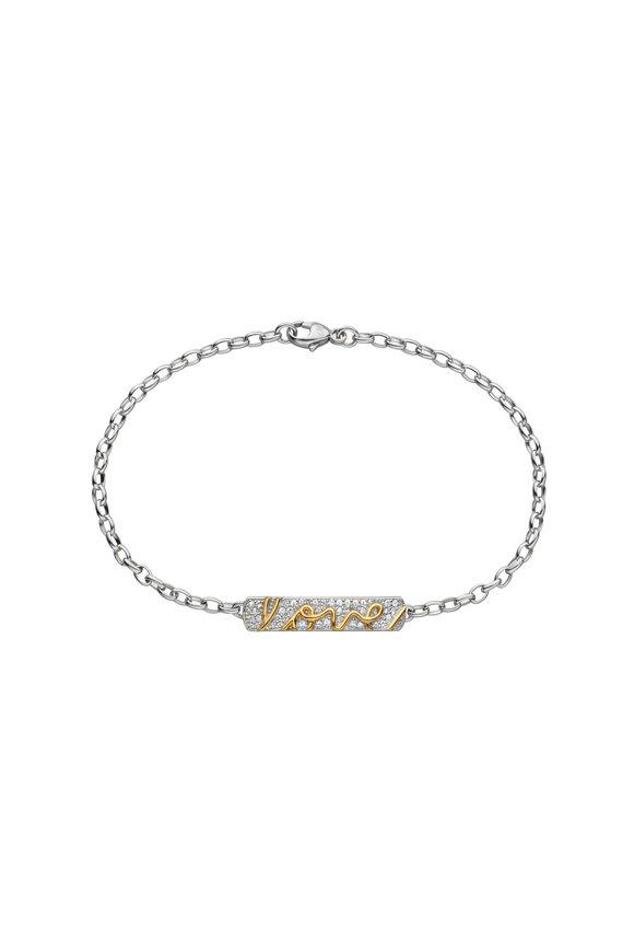 Monica Rich Kosann Sterling Silver & Gold Posey Pavé Love Bracelet