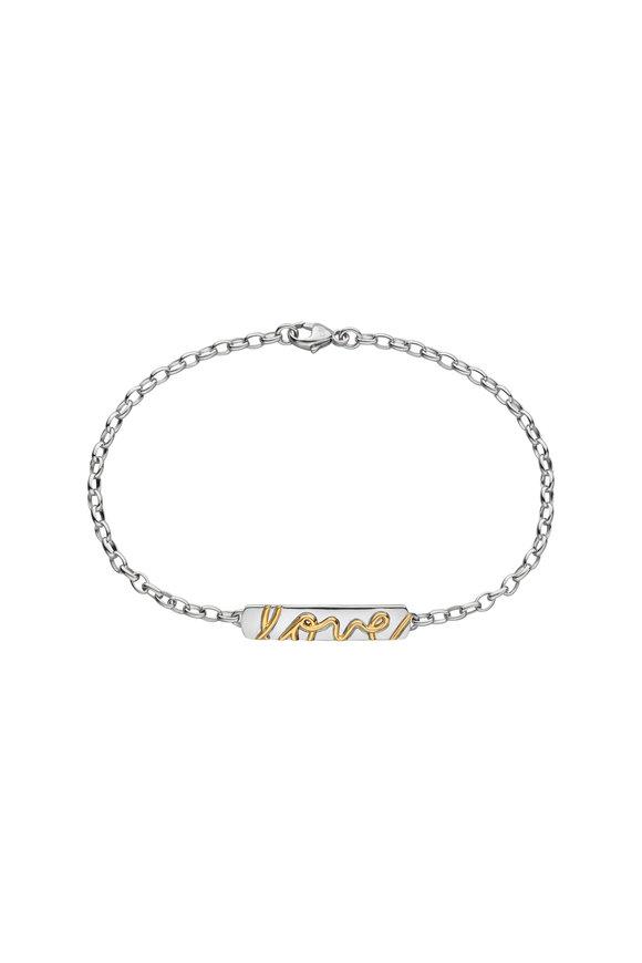 Monica Rich Kosann Sterling Silver & Yellow Gold Posey Love Bracelet