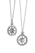 Monica Rich Kosann - Silver Sapphire Global Compass Charm Necklace