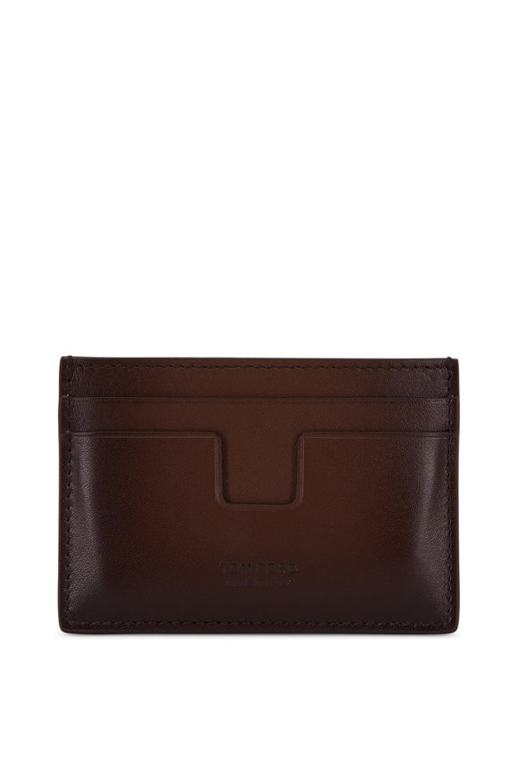 Tom Ford T- Line Chocolate Brown Leather Card Case