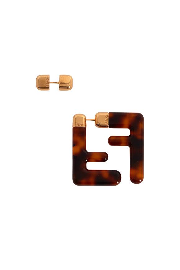 Fendi FF Tortoise Resin Convertible Earrings
