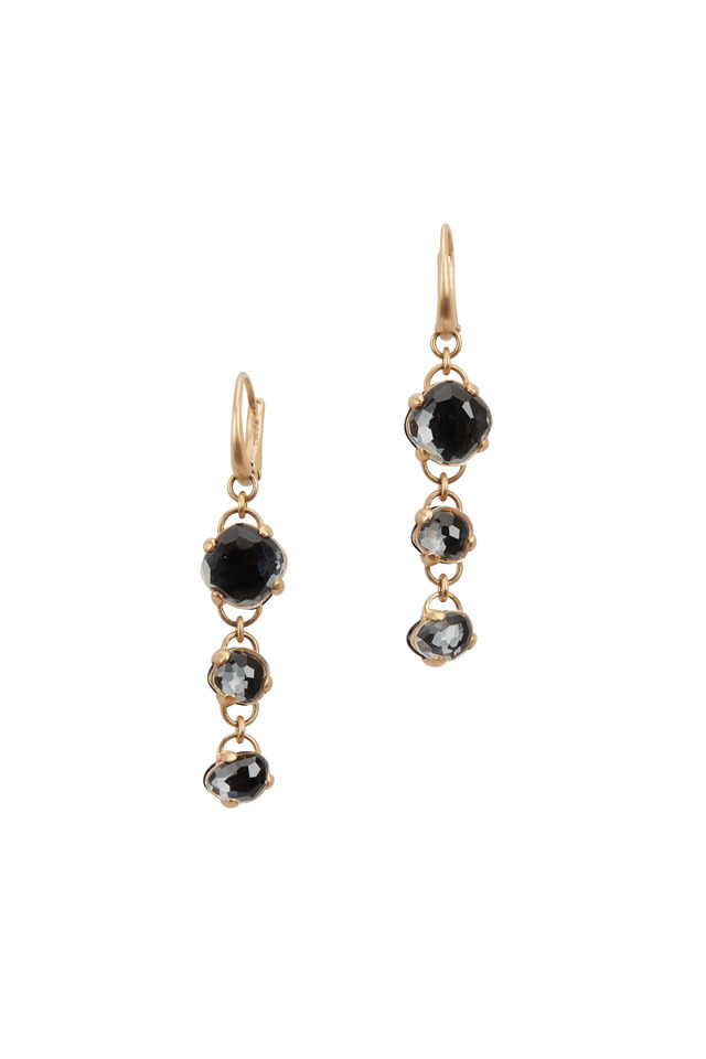 18K Rose Gold Black Onyx Three Drop Earrings
