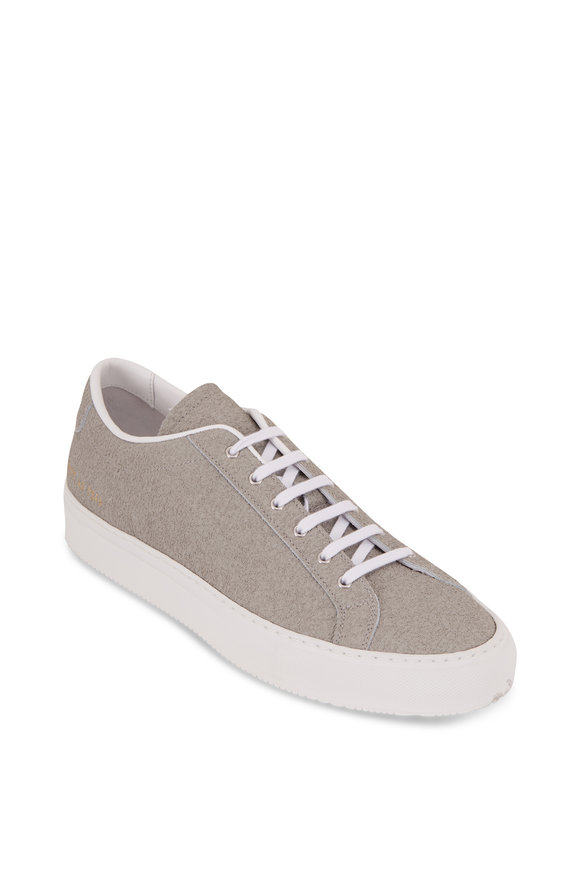 Common Projects Achilles Premium Gray Textured Leather Sneaker