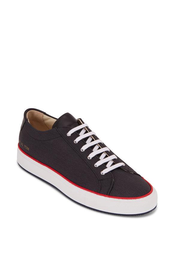 Common Projects Achilles Black Canvas Red Trim Sneaker