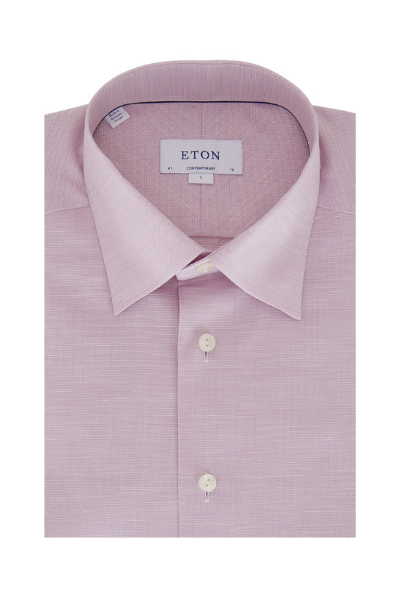 Eton Purple Linen & Cotton Contemporary Sport Shirt