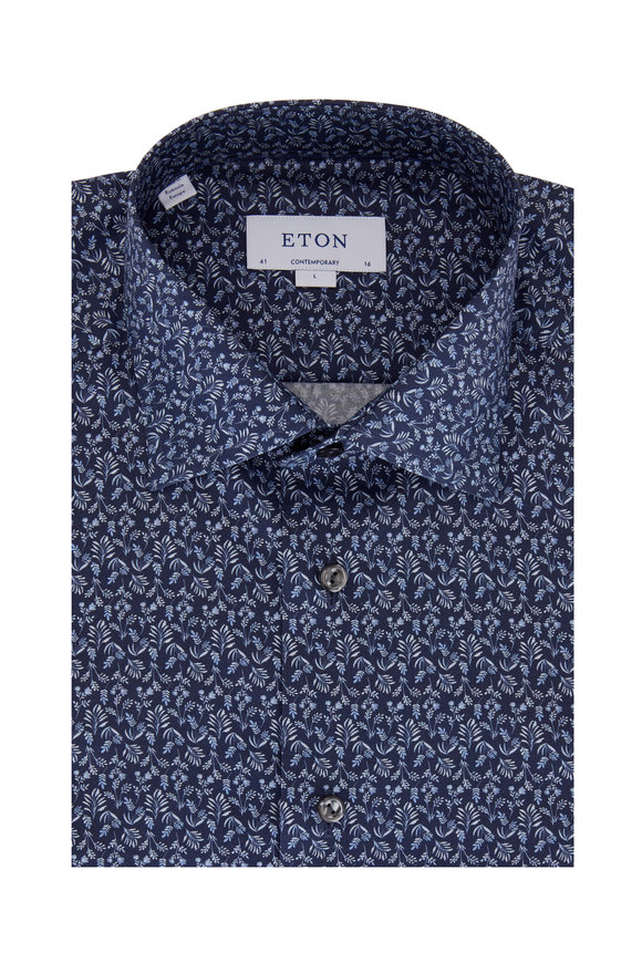 Eton Navy Blue Botanical Contemporary Fit Dress Shirt