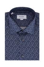 Eton - Navy Blue Botanical Contemporary Fit Dress Shirt