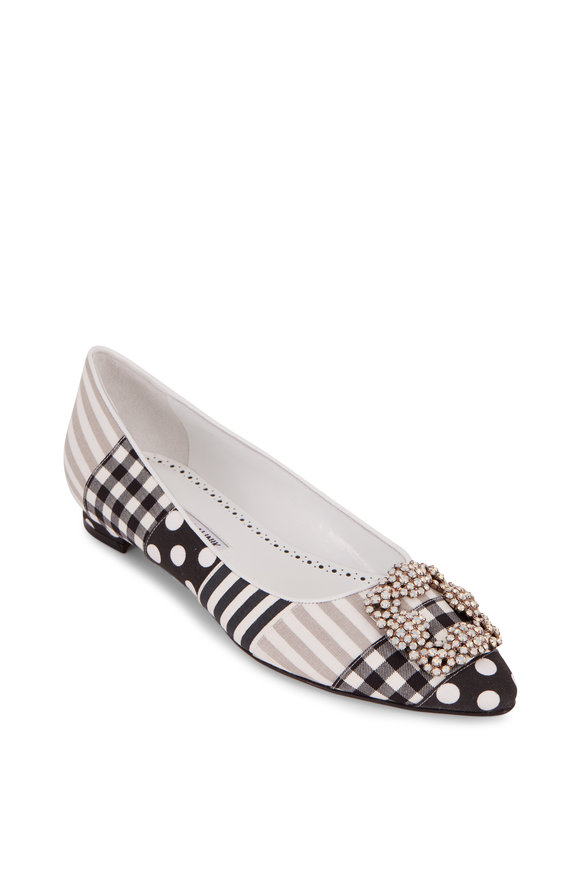 Manolo Blahnik Hangisi Black & White Patchwork Buckled Flat