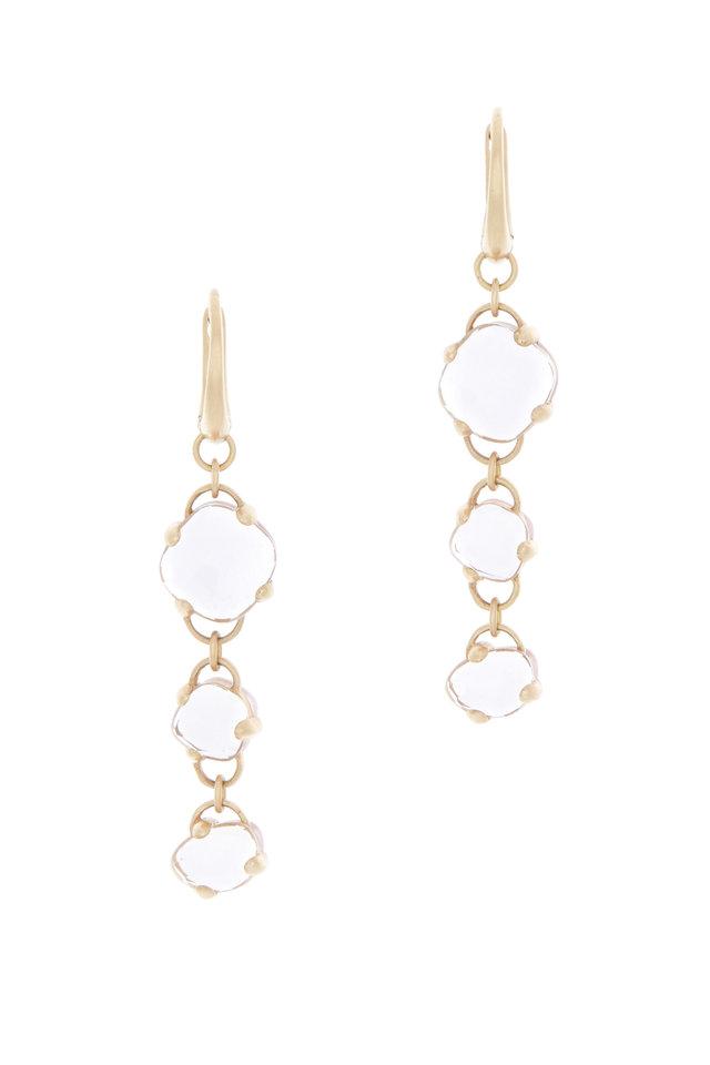 Capri Pink Gold Rock Crystal Pink Quartz Earrings