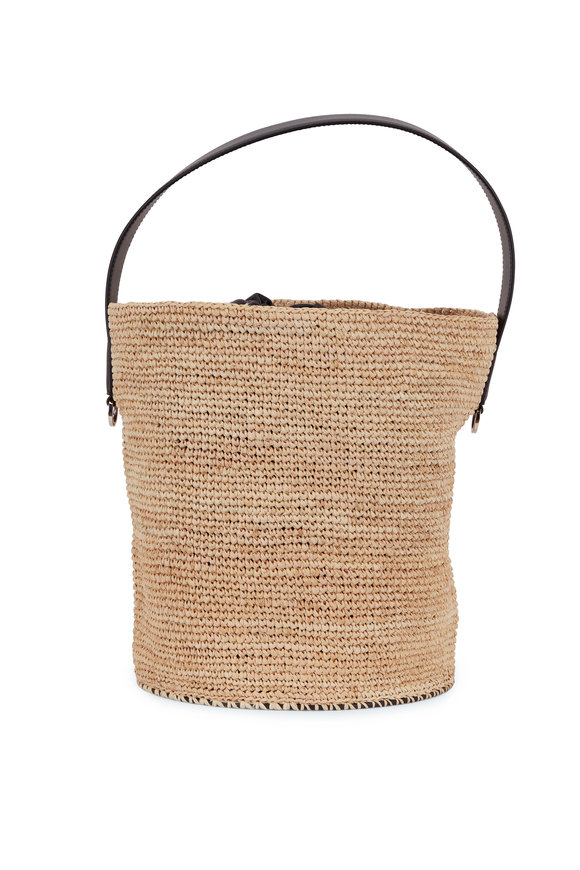 Jil Sander Natural Raffia & Black Leather Bucket Bag