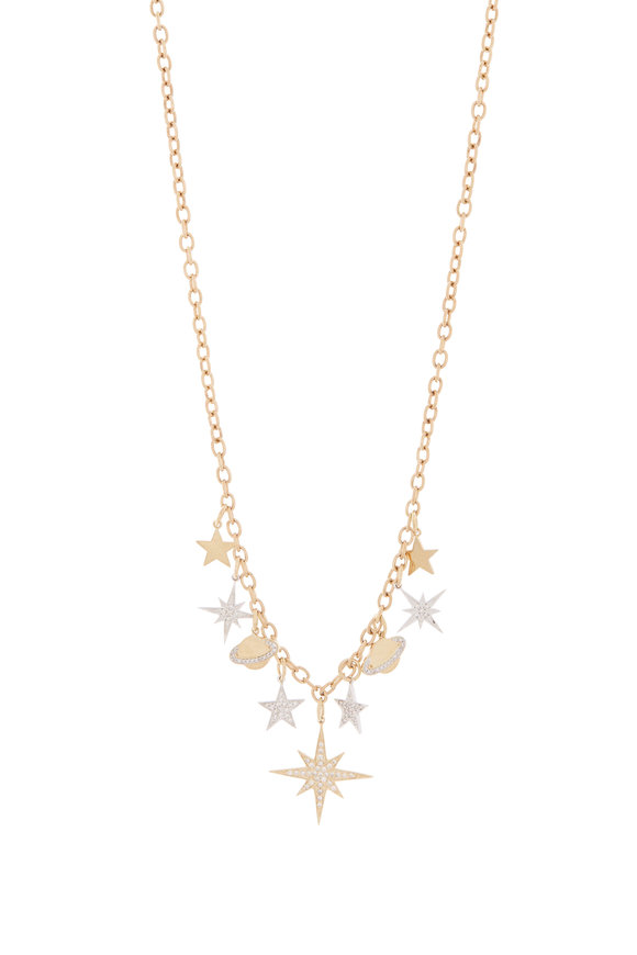 Sydney Evan 18K Yellow Gold Multi Charm Dangling Necklace