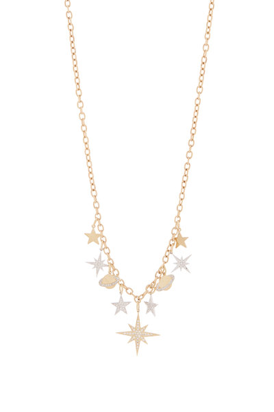 Sydney Evan - 18K Yellow Gold Multi Charm Dangling Necklace