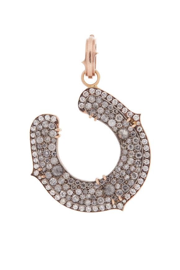 Sylva & Cie 18K Rose Gold Gray Diamond Horseshoe Pendant