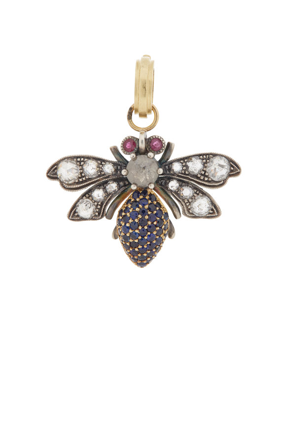 Sylva & Cie 18K Yellow Gold & Silver Diamond Bee Pendant