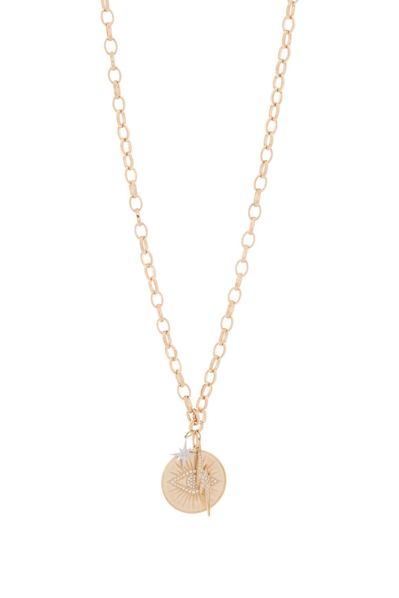 Sydney Evan Yellow Gold Pavé Starburst Evil Eye Coin Necklace
