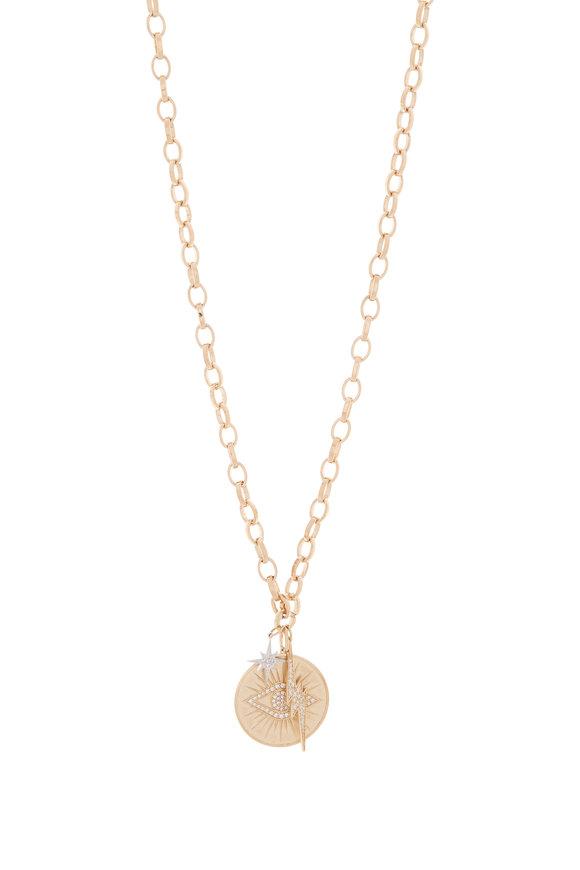 Sydney Evan Yellow Gold Pavé Starburst Evil Eye Coin Necklace