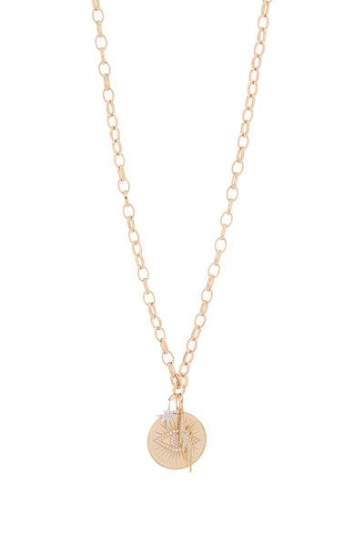 Sydney Evan - Yellow Gold Pavé Starburst Evil Eye Coin Necklace