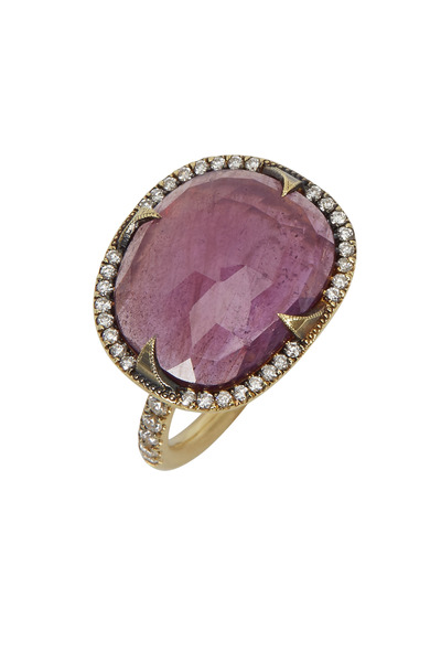 Sylva & Cie - Yellow Gold Red Ruby Diamond Ring