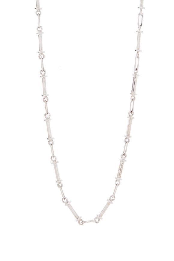 Genevieve Lau 14K White Gold Diamond Bar Necklace