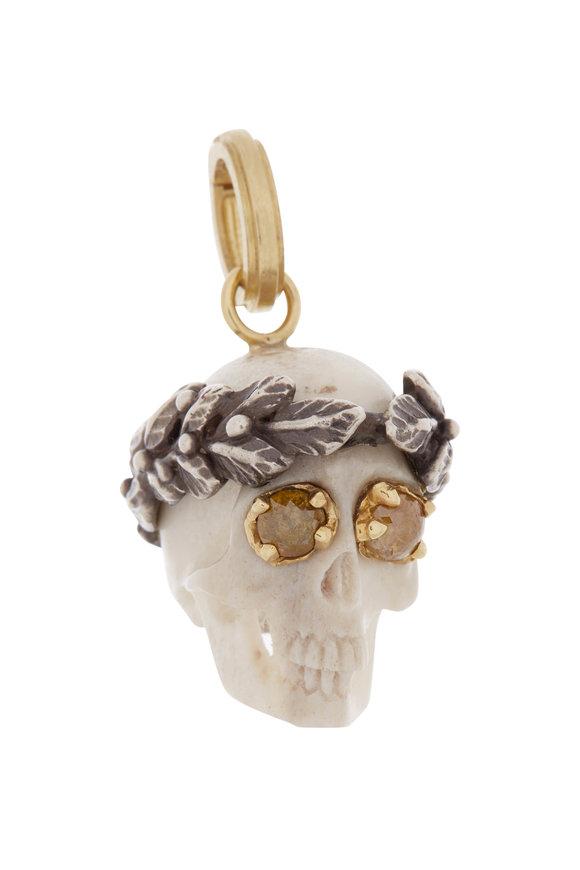 Sylva & Cie 18K Yellow Gold & Silver Diamond Eye Ceasar Skull