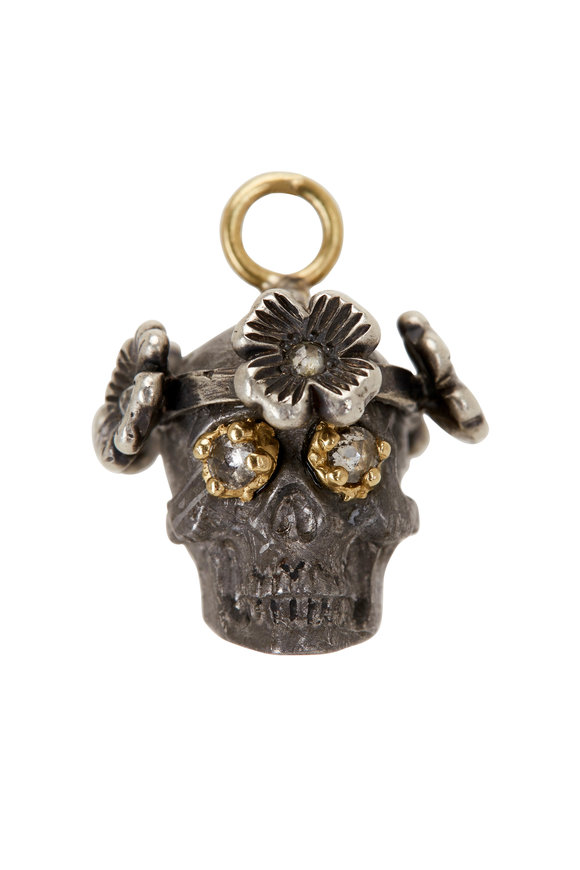Sylva & Cie 18K Gold & Silver Meteorite Skull Pendant