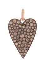 Sylva & Cie - 14K Rose Gold Diamond Ten Table Heart Pendant