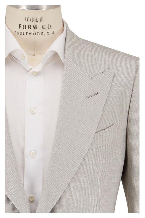 Tom Ford Shelton Beige Silk Tweed Sportcoat