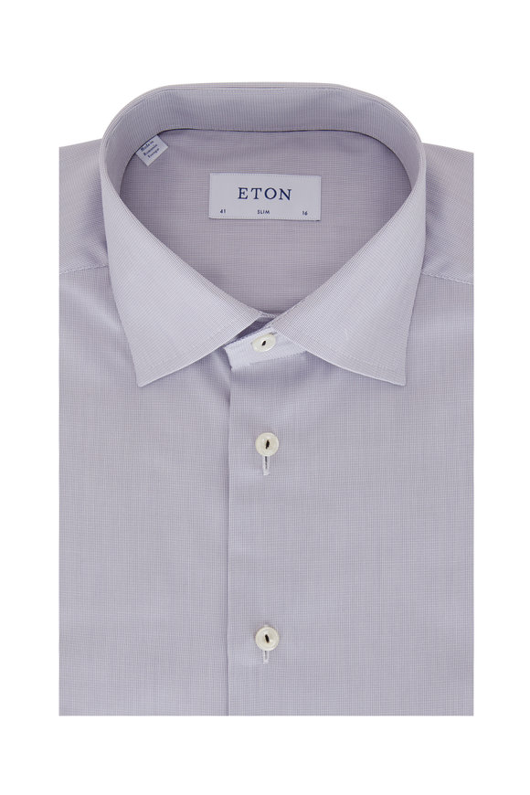 Eton Light Gray Textured Slim Fit Dress Shirt