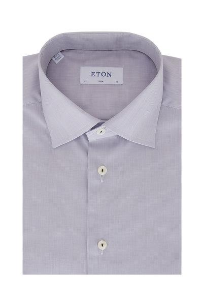 Eton - Light Gray Textured Slim Fit Dress Shirt