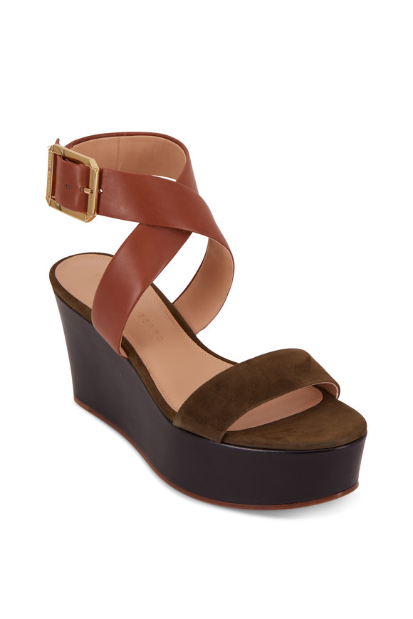 Veronica Beard Hurley Army Suede & Leather Platform Sandal, 85mm