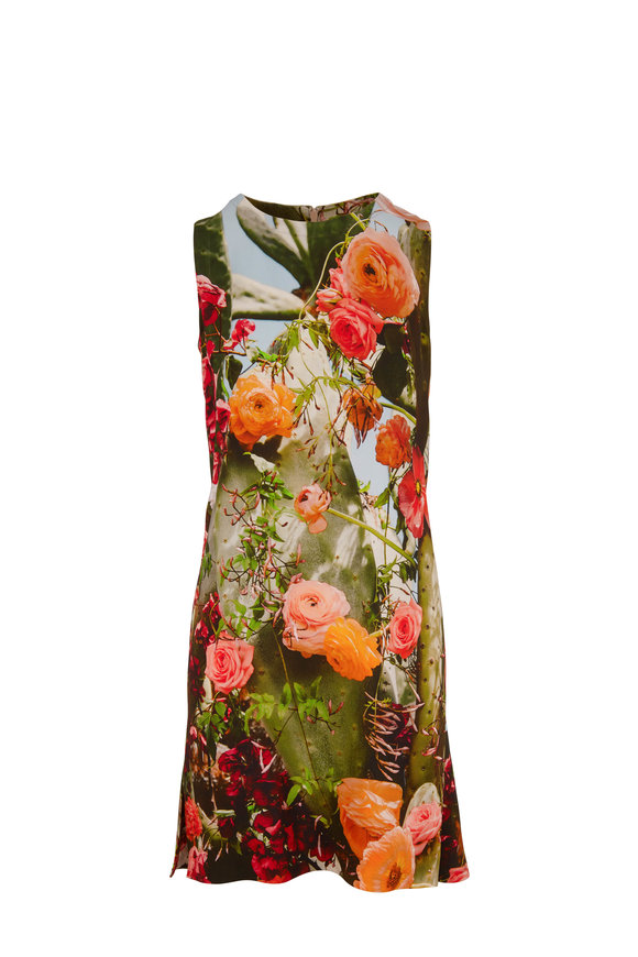 Akris Punto Cactus Blossom Print Jersey Sleeveless Dress