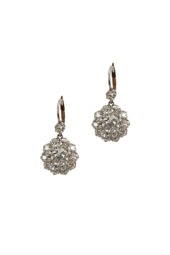Fred Leighton Platinum White Diamond Cluster Pendant Earrings