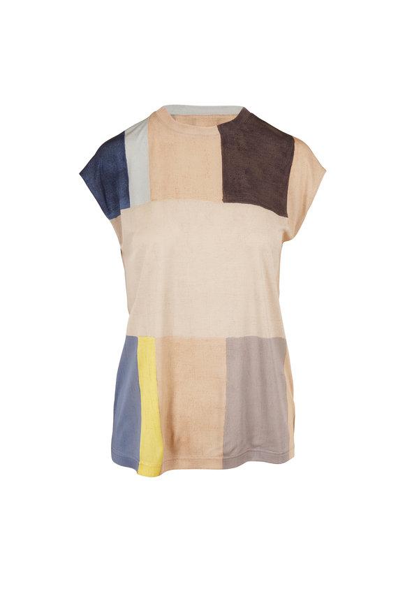 Akris Multicolor Silk Pittura Print Cap Sleeve Top